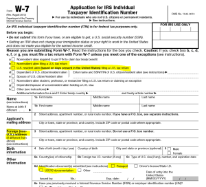 IRS Form W-7 Highlighted