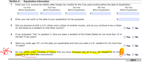 IRS Form 8854 Part IV- Including Certification