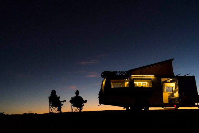 Camping in evening with Mantis Camper Trailer