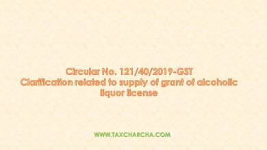 Photo of Circular no.121/2019-GST – Clarification related to supply of grant of alcoholic liquor license