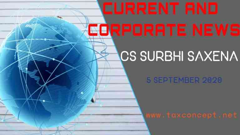 CURRENT AND CORPORATE NEWS : 5 SEPTEMBER 2020