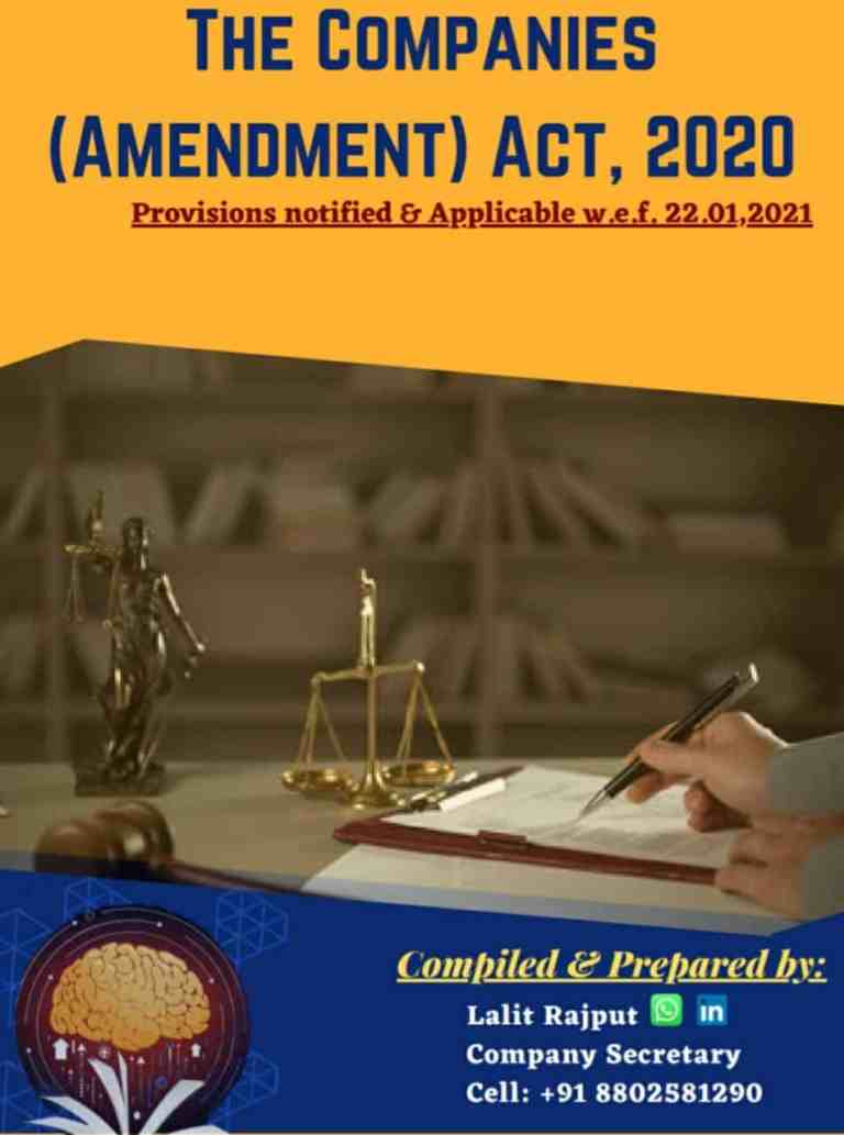 The Companies (Amendment) Act, 2020