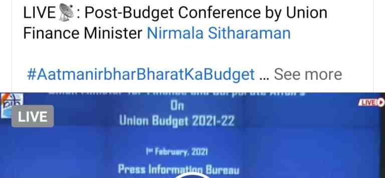 LIVE- Post-Budget Conference by Union Finance Minister Nirmala Sitharaman
