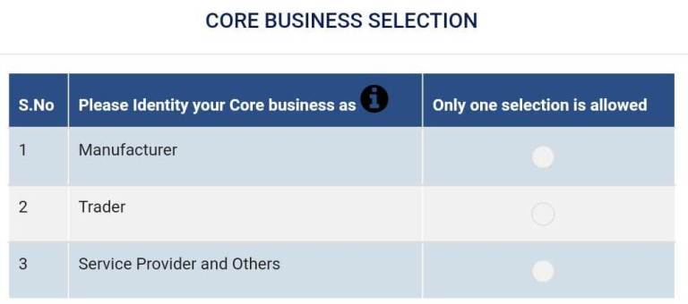 GSTN Enables the Facility for Core Business Selection on GST Portal