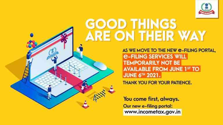 Taxpayers/Tax Professionals,e-filing portal services will not be available wef 1st June-6th June,2021