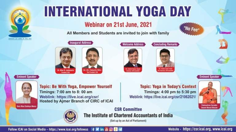 CSR Committee of ICAI is organizing Webinars on the occasion of International Yoga Day