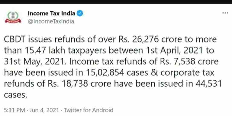 CBDT issues refunds of over Rs. 26,276 crore to more than 15.47 lakh taxpayers between 1st April, 2021 to 31st May, 2021