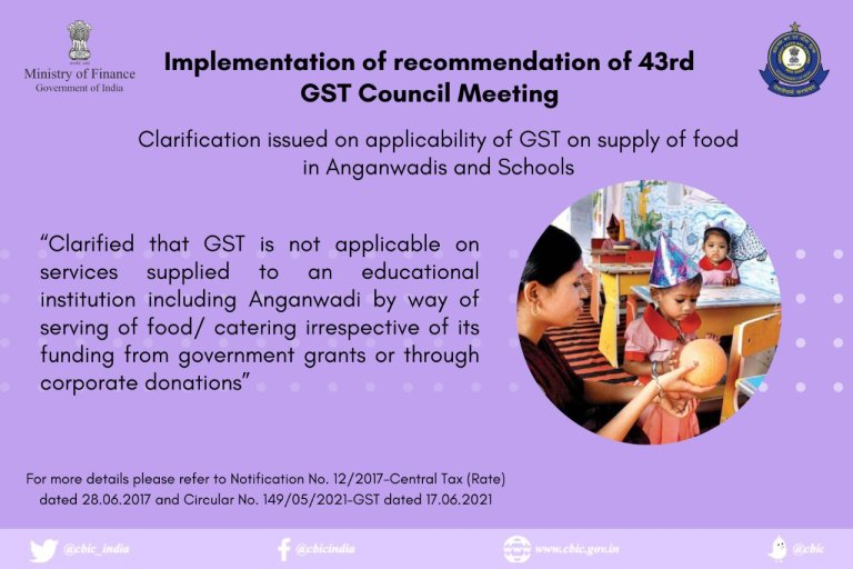 CBIC Clarification issued on applicability of GST on supply of food in Anganwadis and Schools