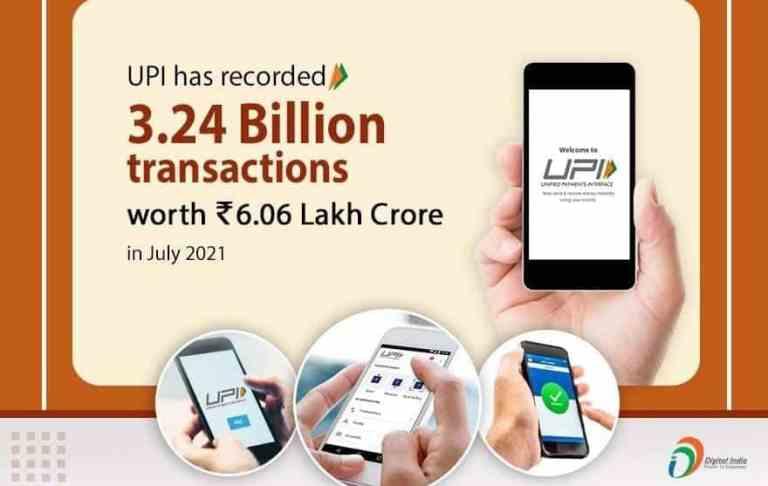 UPI has recorded 3.24 Billion transactions worth rupees 6.06 Lakh Crore