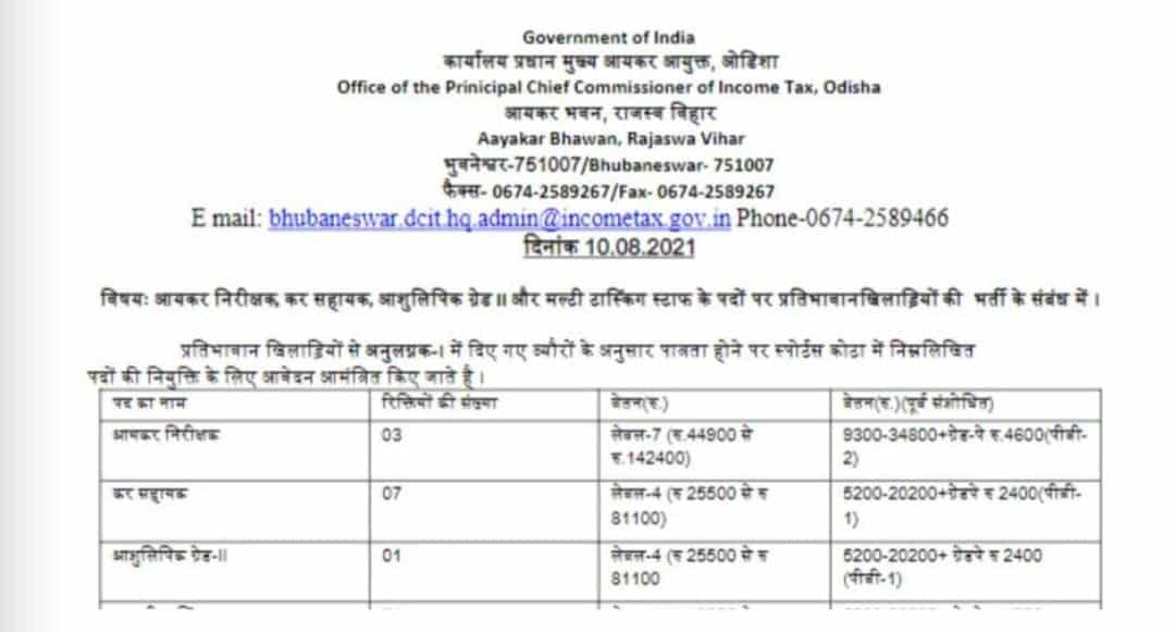 Income Tax Department Recruitment 2021: Vacancies for various posts - check details