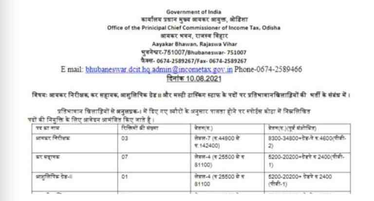 Income Tax Department Recruitment 2021: Vacancies for various posts – check details