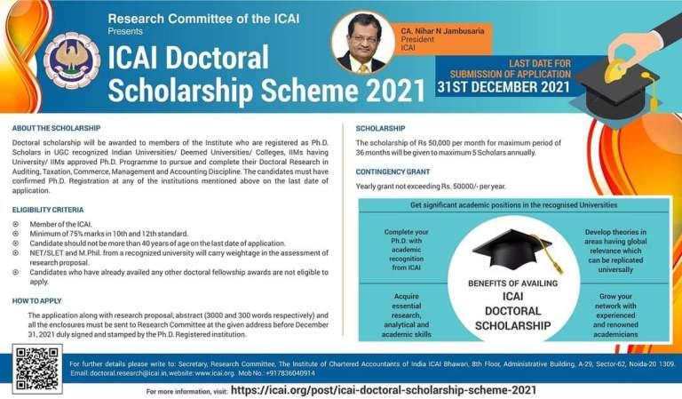 ICAI Doctoral Scholarship Scheme 2021