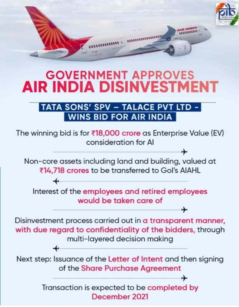 Government Approves Air India Disinvestment, owned subsidiary of M/s Tata Sons Pvt. Ltd