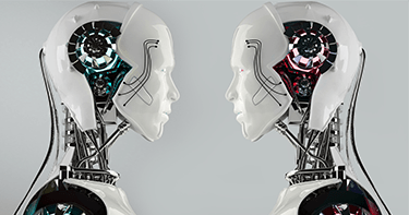two robots face to face