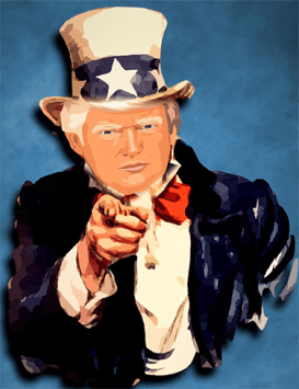 Cartoon of Donald Trump as Uncle Sam