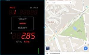 Taximeter running alongside Google Maps in Samsung Multi Window