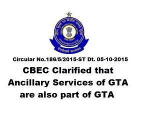 CBEC : Ancillary Services of GTA are also part of GTA