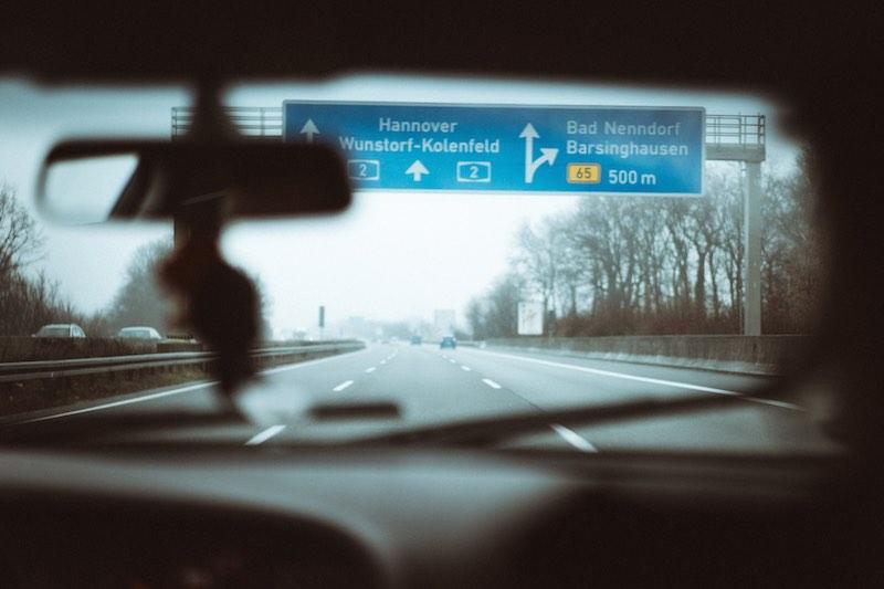 Auf dem weg zum Shooting auf der Autobahn A2