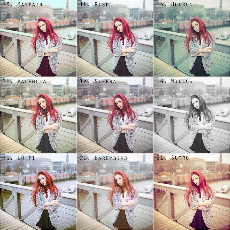 Vorschau Instagram Presets 13 bis 21