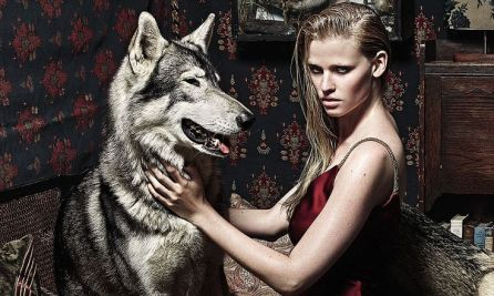 """The Wolf In Her"", Lara Stone By Mario Sorrenti For UK Vogue September 2014"