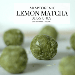 Adaptogenic Lemon Matcha Bliss Bites - Tayler Silfverduk - This is a matcha made in heaven! Looking for easy ways to incorporate adaptogens into your diet? Want an extra boost from your snacks? Try these bliss bites! #blissbites #blissballs #energybite #energyballs #adaptogenic #adaptogens #recipe #glutenfree #vegan #plantbased #celiacfriendly #adaptogenicrecipe #dietetics #rd2be #healthfood @foursigmatic