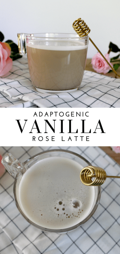 Adaptogenic Vanilla Rose Latte - Tayler Silfverduk - Keep it warm and rosey with this beneficial latte! Want to adapt to stress better? Adaptogens can help you do that! This adaptogenic latte is the perfect thing to get you started with using adaptogens.- adaptogenicdrinks #adaptogenicfood #roselatte #adaptoeniclatte #stressrelievingfood #nostressfood #glutenfreedrinks #fancylattes #superfooddrink #healthfooddrink #superfood #dietetics #nutrition #warmingdrinks
