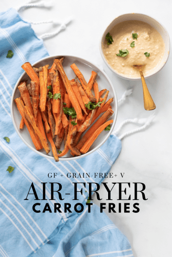 Air Fryer Carrot Fries - Tayler Silfverduk DTR - air fryer recipe, air fryer, air-fryer, gluten-free air-fryer recipe, glutenfree airfryer recipe, vegan air fryer recipe, french fries in the air fryer, carrot fries, carrot recipe, #glutenfreerecipe #veganrecipe #carrotfries #carrotrecipes #airfryerrecipe #healthyairfryerrecipe