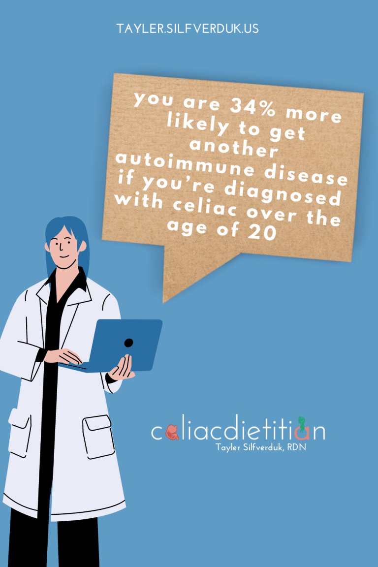 Autoimmune Diseases Linked to Celiac Disease - Tayler Silfverduk, celiac dietitian - Autoimmune disease risk in celiac disease and what to do about it - You have a 34% increased risk of getting another autoimmune disease if you're diagnosed with celiac after 20... here's what to do about it
