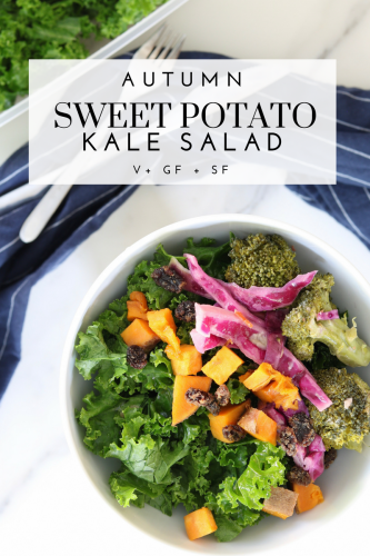 Autumn Sweet Potato Salad - Tayler Silfverduk DTR - #autumnsalad #warmingsalad #wintersalad #kalesalad #saladbowl #thanksgivingsalad #tahinidressedsalad #vegansalad #glutenfreesalad #simplesalad #sweetpotatosalad #brunchsalad #glutenfree #saladrecipe #kalesaladrecipe #dietetics #nutrition #DTR #silfverduk #celiacsalad #celiacfriendly #celiacfriendlyrecipe #purplecabbage #sweetpotatoe #broccolisalad #curlykale