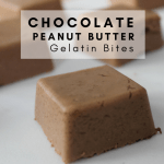 Chocolate Peanut Butter Gelatin Bite Recipe - Tayler Silfverduk - Looking for a high quality protein packed snack? This chocolate peanut butter gelatin bite is for you! It's a tasty melt in your mouth treat that will leave you full and satisfied. #collagen #collagenpeptide #beefgelatin #gelatin #gelatinrecipe #vitalproteins #energybites #recipe #glutenfreerecipe #glutenfree #snackidea #snackrecipe #glutenfreesnack #chocolate #peanutbutter #coconut #chocolatepeanut #ketorecipe