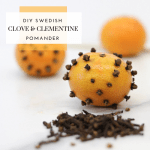 DIY Swedish Clove and Clementine Pomander - Tayler Silfverduk DTR - Make these fun Christmas scented ornaments with just 2 ingredients! Super fun for kids to create their own designs! #swedishtradition #holidaytradition #healthyholidaytradition #DIYholidaydecor #pomander #sverige #cloves #clementine #DIYchristmasornaments #celiacdietitian #rd2be #dietetics #glutenfreeholidays #glutenfreeactivities #glutenfreetraditions #silfverduk