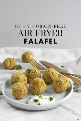 Gluten-Free Air Fryer Falafel - Tayler Silfverduk DTR - grain-free falafel, gluten-free falafel, air fryer recipe, vegan air fryer recipe, plant-based air fryer recipe, gluten-free air fryer recipe, grain-free air fryer recipe, air fryer falafel, vegan recipe, plant-based recipe, grain-free recipe, gluten-free recipe, celiac safe recipe, celiac safe air fryer recipe, gluten-free nutrition, #glutenfree #vegan #vegetarian #chickpeas #falafel #airfryer #grainfreerecipe #grainfree