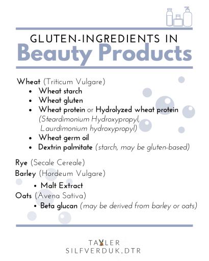 Gluten-free Beauty Products - Tayler Silfverduk, DTR - celiac disease, celiac, coeliac, coeliac disease, beauty products, gluten-free beauty products, gluten in beauty products, gluten-free, gluten-free living, gluten in toothpaste, gluten in mouthwash, celiac life, celiac education