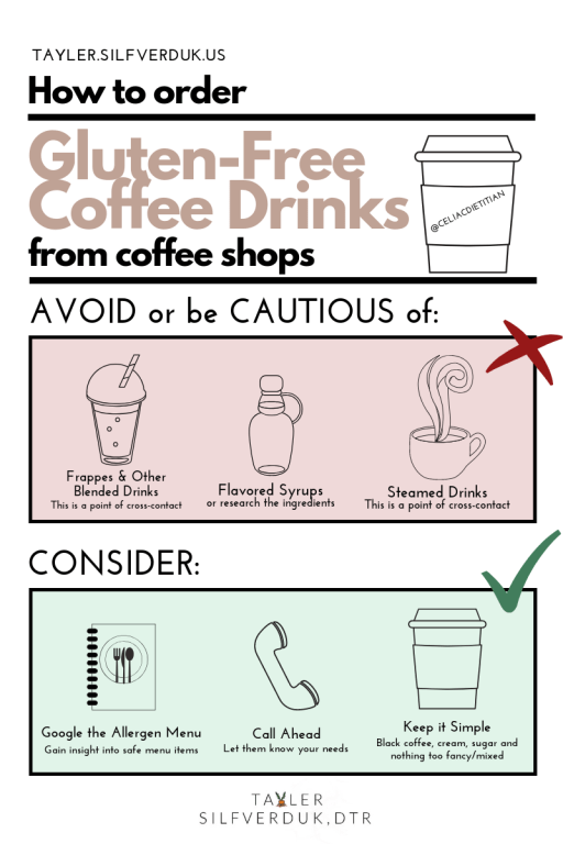 How to order Gluten-Free Coffee Drinks from coffee shops - Tayler Silfverduk - #glutenfreecoffee #glutenfreefrappe #glutenfreedrinks #glutenfreelatte #glutenfreestarbucks #celiacsafe, gluten-free cafe, gluten-free ordering, gluten-free coffee drinks, gluten-free frappe, gluten-free blended drinks, gluten-free coffee shop, gluten-free living tips, gluten-free living, gluten-free lifestyle, celiac life, celiac education, celiac facts, celiac nutrition, gluten-free nutrition, #glutenfreeliving #glutenfreelife #gfree #nogluten #wheatfree