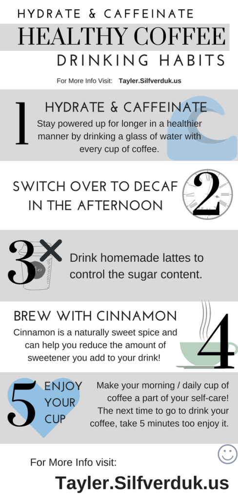 Hydrate and Caffeinate - Healthy Coffee Drinking Habits - Tayler Silfverduk - Should you drink coffee? One day it's bad for you and the next day it's good, so which is it? Generally, drinking coffee provides a variety of health benefits.  #healthfood #healthfacts #healthtips #coffeefacts #coffeehealthbenefits #drinkcoffee #coffee #dietetics #nutritionfacts #nutritiontips #rd2be #learnsomething