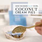 Mini No-Bake Blue Swirl Coconut Cream Pies - Tayler Silfverduk DTR - #coconutcreampie #coconutcream #glutenfreepie #glutenfreecoconutcreampie #dairyfreepie #dairyfreedessert #glutenfreedessert #celiacfriendlydessert #celiacfoodie #bluefood #blueswirl #dessertswirl #celiacdietitian #rd2be #colorkitchenfoods #coconut #creampie #gelatin #gelatindessert #easydessert #nobakepie #nobakedessert #quicknobakedessert