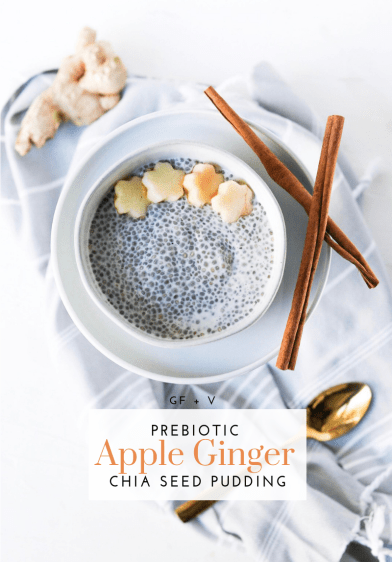 Prebiotic Apple Ginger Chia Seed Pudding - Tayler Silfverduk DTR - prebiotic recipe, apple ginger chia pudding, chia pudding recipe, meal-prep recipe, #prebioticrecipe #microbiomesupport #microbiomeinfo #appleginger #glutenfreebreakfast #gutfriendlyrecipe #guthealth #heathygutrecipe #recipesforyourgut #probiotics #chiaseeds #chiaseedpudding #chiaseedrecipe #chiapudding #celiacdietitian #glutenfreedietitian #rd2be #silfverduk
