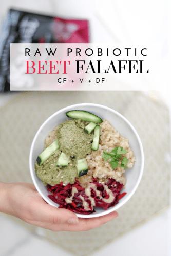 Raw Probiotic Beet Falafel - Tayler Silfverduk DTR - #rawfalafel #5minutefalafel #simplefalafel #veganfalafel #glutenfreefalafel #probiotic #fermentedfood #beetfalafel #celiacrecipe #simplefalafel #easyfalafel #clevelandkraut #kraut