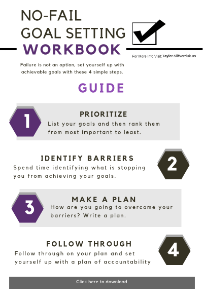 Set No-Fail Goals Printable - Tayler Silfverduk DTR - #newyearsresolution #goalsetting #nofailgoals #healthgoals #howtosetgoals #healthylifestyle #loseweight2019 #2019resolutions #newyearsgoals #goalsettingworkbook #2019freeprintable #2019goalprintable #printable #freeprintable #freeworkbook #dietetics #rd2be #nutritioneducation #2019plan