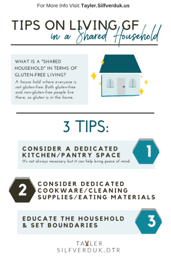 Tips on Living Gluten-Free in a Shared Household - Tayler Silfverduk - Tayler Silfverduk DTR #celiacdisease #celiac #celiaclife #livingwithceliac #glutenfreeliving #crosscontact #celiacfamily #glutenfreelife #glutenfreenutrition #glutenfreediet #celiacdiet #celiacdietitian #celiacnutritionist #glutenfreenutritionist #dietetictechnician #dieteticintern #dietetics living with celiac disease, celiac disease education, celiac disease facts, celiac info, celiac infographic
