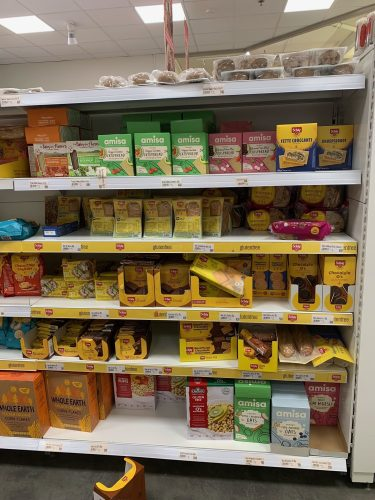 Gluten-free aisle in Netto, a common grocery store in Iceland.