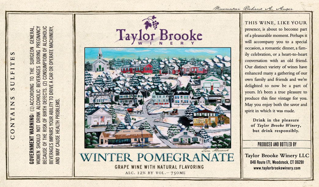 Winter Pomegranate white wine label