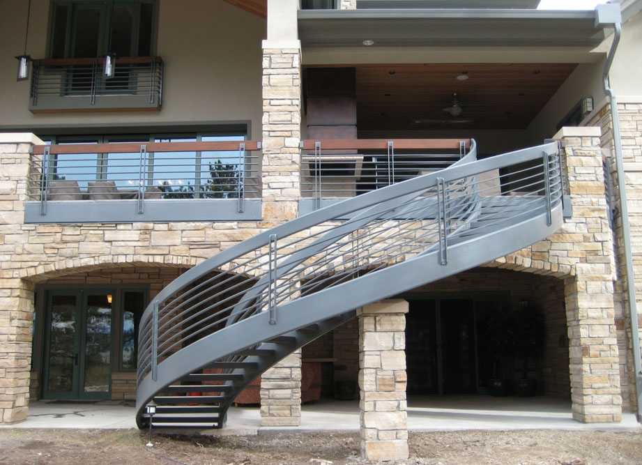 Taylored Iron Custom Iron Works Taylored For You Colorado Front   Outdoor Wooden Spiral Staircase   Kid Friendly   Residential   Circular   Beautiful   Rooftop Deck