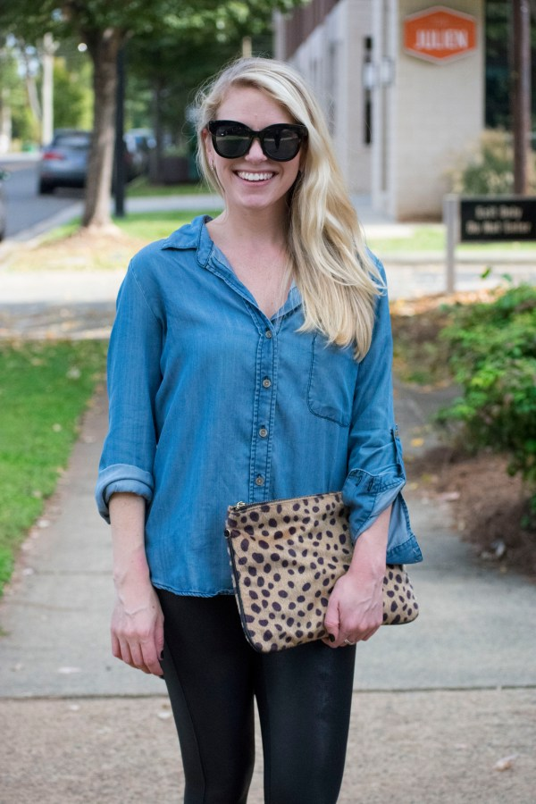 hinge., Nordstrom, Fall Style, October, Fall, Autumn, Fall Trends, Denim, Chambray, Spanx, Leather, Leopard, LOFT, Vestique, Bevello, Style Influencer, Charlotte Blogger, Queen City Blogger, 704, NC Blogger, Fall 2017, Lifestyle Blogger, tayloringstyle, Taylor Your Closet