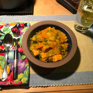 Thai seafood curry over brown rice