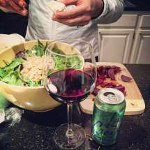 Sarah used Instagram to document our evening, and I swipe this photo of our meal preparation