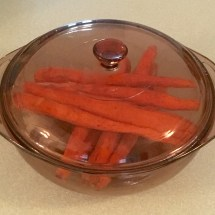 Carrots ready to steam in the microwave.