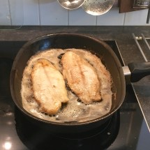 Filets frying side-by-side, but only for a few minutes.