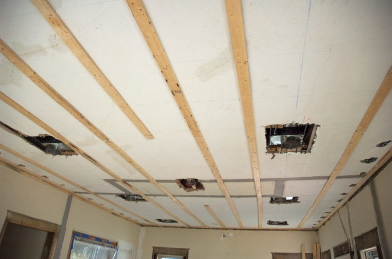 Drywall over plaster ceiling furring strips for Interior stucco ceiling repair