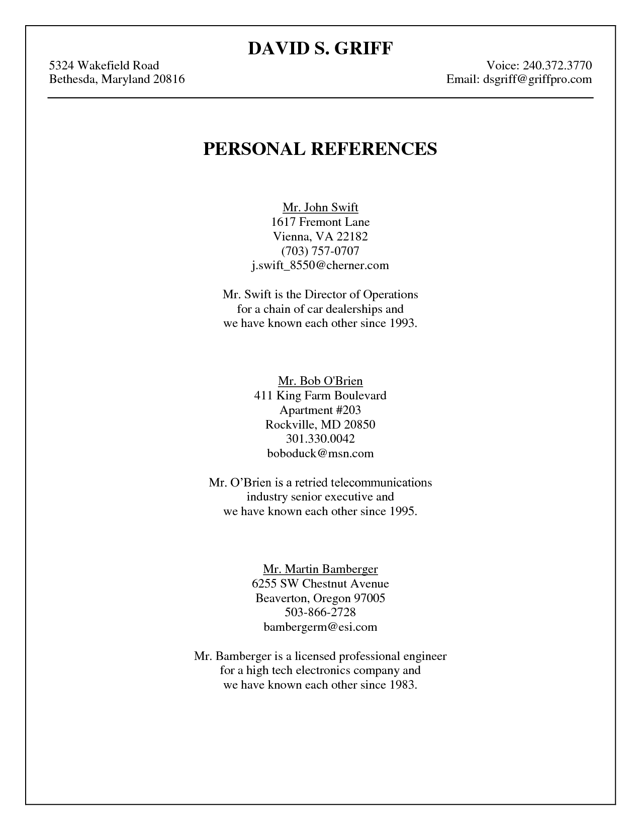 references sample resumes